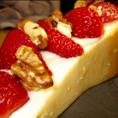 Tarta de queso con frambuesas