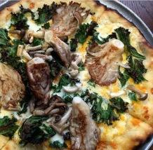 Setas , kale y parmesano