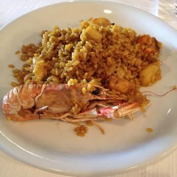 Paella pescados y mariscos