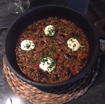 Arroz seco con verduras y setas